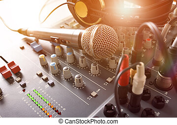 Recording equipment in studio front elevated view -...
