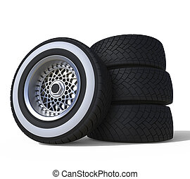 Automotive wheels isolated on white. 3D render