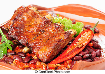 Roasted pork ribs with vegetables