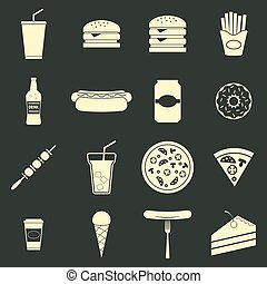 Fast food icons set, flat style, vector illustration