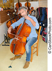 Man playing double bass