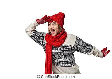 Surprised winter woman looking forward - Happy laughing...