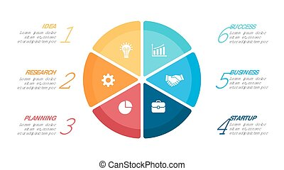 Vector circle arrows infographic, cycle diagram, graph, presentation chart. Business concept with 6 options, parts, steps, processes.