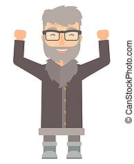 North man standing with raised arms up. - Successful north...