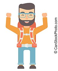 Backpacker with hands up vector illustration. - Caucasian...
