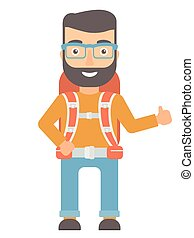 Hiker giving thumbs up vector illustration. - Hipster...