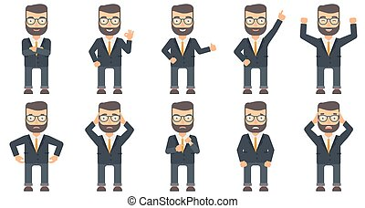 Vector set of business characters. - Caucasian businessman...