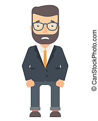 Embarrassed young businessman vector illustration. -...