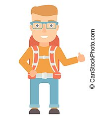 Hiker giving thumbs up vector illustration. - Smiling...