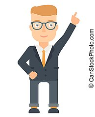 Businessman pointing up with finger. - Caucasian businessman...