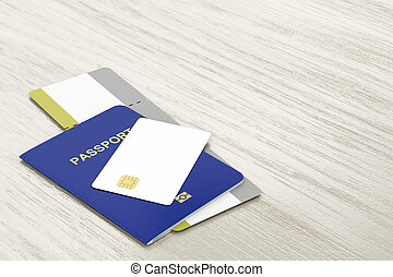 Passport, bank card and boarding pass - Passport and blank...