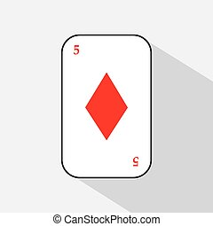 FIVE DIAMOND card on a white background to separate easily.