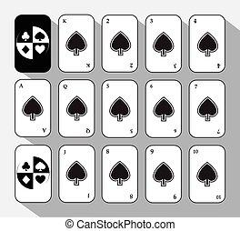 poker card. Set Fifteen SHOVEL WHITE.  background.