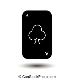 poker card. ACE CLUB BLACK. White easy to separate...