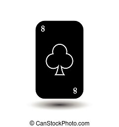 poker card. EIGHT CLUB BLACK. White easy to separate background.