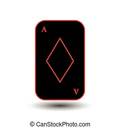 poker card. ACE BLACK DIAMOND. White easy to separate background.