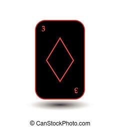 poker card. THREE BLACK DIAMOND. White easy to separate...