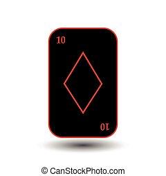 poker card. TEN BLACK DIAMOND. White easy to separate background.