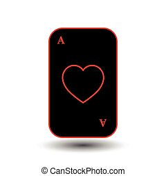 poker card. ACE OF HEART BLACK. separate white background.