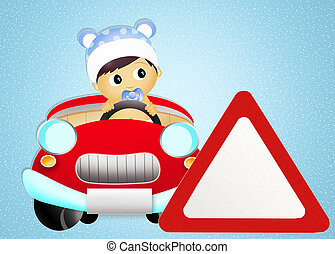 baby on board car sign - illustration of baby on board car...