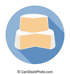 Soft cheese icon in flat style isolated on white background....
