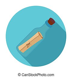 Message in the bottle icon in flat style isolated on white...