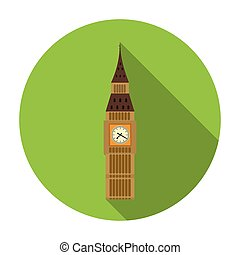 Big Ben icon in flat style isolated on white background. England country symbol stock vector illustration.