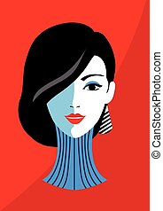 Stylish beautiful model for fashion design. Art deco graphic...