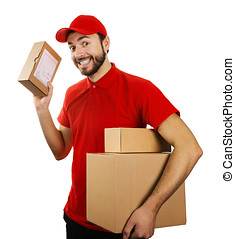 funny delivery service man with boxes isolated on white...