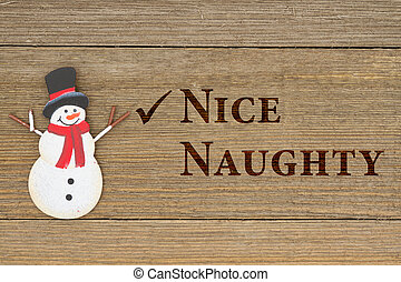 Old fashion Christmas message, A retro snowman on weathered...