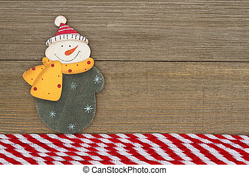 Old fashion Christmas background, A retro snowman on...