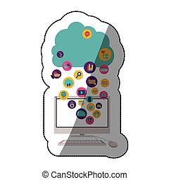 Cloud computing and media icon set design