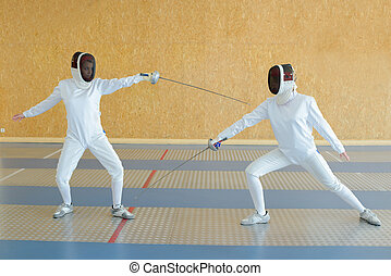 fencers doing the drill