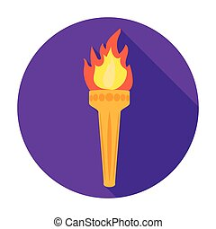 Olympic torch icon in flat style isolated on white background. Greece symbol stock vector illustration.
