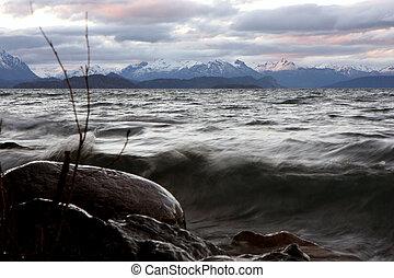 Sunset view at Bariloche - View to Nahuel Huapi lake at...