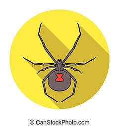 Black widow spider icon in flat style isolated on white background. Insects symbol stock vector illustration.