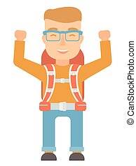 Backpacker with hands up vector illustration. - Young...