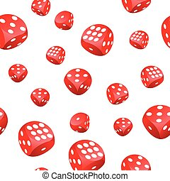 Red playing dices seamless pattern