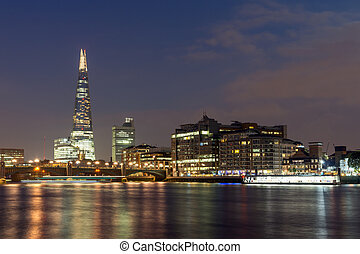 LONDON, ENGLAND - JUNE 17 2016: Night Panorama of Southwark...