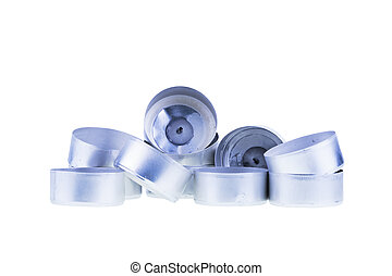 Aluminum Cups for Small Candles on White - Close up Plenty...