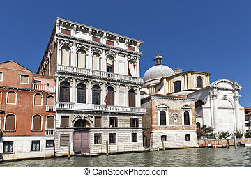 Venice ancient architecture, Italy. - Old buildings and San...