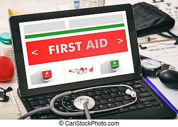 First aid written on a doctor's computer screen - First aid...