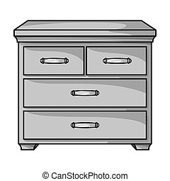 Wooden cabinet with drawers icon in monochrome style...