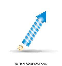 Blue fireworks rocket, petard - Blue fireworks rocket. Blue...