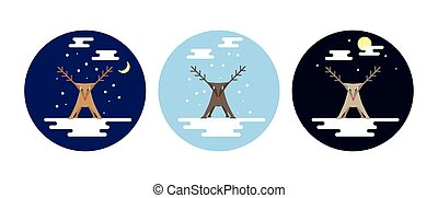 Flat style reindeer in snow scenes at different times of the...