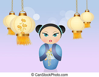 Kokeshi doll and Chinese lanterns - illustration of Kokeshi...