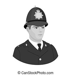 English policeman icon in monochrome style isolated on white background. England country symbol stock vector illustration.