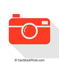 Digital photo camera sign. Red icon with flat style shadow...