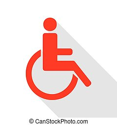 Disabled sign illustration. Red icon with flat style shadow path.