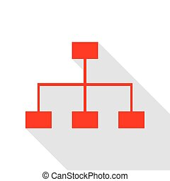 Site map sign. Red icon with flat style shadow path.